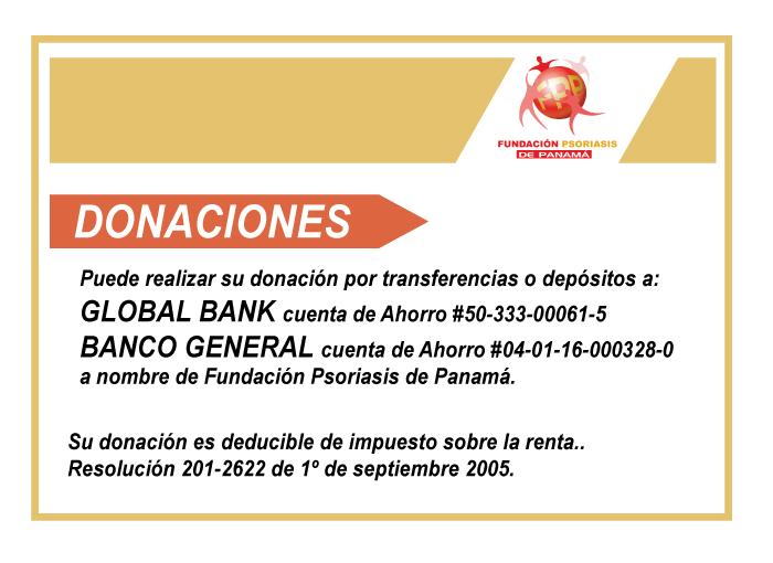 Psoriasis Panamá donaciones